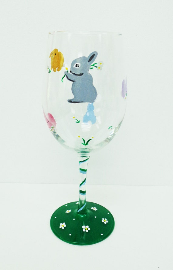 items similar to bunny wine glass rabbit wine glass hand painted wine glass on etsy. Black Bedroom Furniture Sets. Home Design Ideas