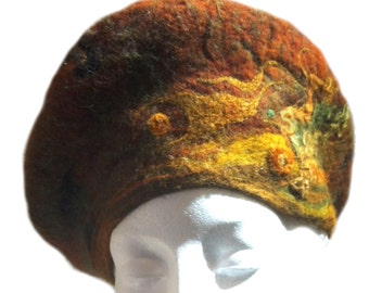 felted wool tam beret, wet & needle felted, Custom ,Choice of colors, beads, Beret, wool hat, Made to order