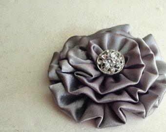 Gray Flower Hair Piece.Gray Flower Brooch.Gray flower Hair Clip.Pin.Bridesmaid Accessory.Medium Gray.Gunmetal.slate.grey.platinum.pewter