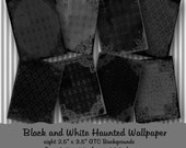 Black and White Haunted Wallpaper - Digital ATC Backgrounds