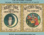 Instant Download - Printable Farmhouse Labels - Night Owl Coffee Witch Brew Tea - Digital PDF or JPG File
