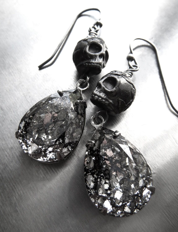 black skull earrings earrings dia de los muertos