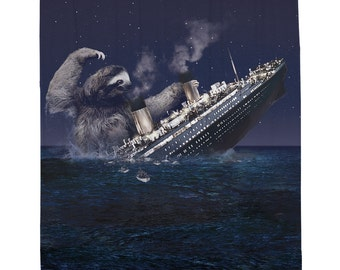 Slothzilla Titanic, Sloth, Shower Curtain, Printed in USA