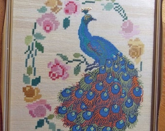 Peacock Needlepoint Embroidered Wall Hanging. Bird and Roses Boho Decor. Vintage Floral Embroidery. Large Wall Tapestry in Gilt Wood Frame.