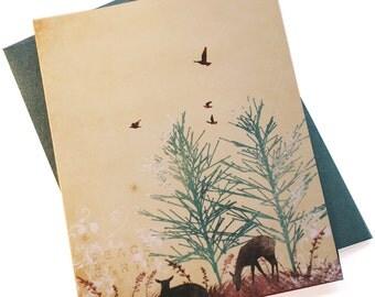 Holiday Cards / Christmas Cards - Peace On Earth Deer - Christmas Holiday Card - Set of 24 - SAVE 5%