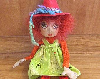 Halloween Witch Handmade Cloth  Art Doll  Folk Art Decoration