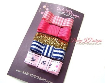 Newborn Bow. Infant Hair Clip.  Baby Girl Bow. Small Bow. Toddler Barrette. Little Mini Tuxedo Bow. Small Hairbow. Baby Bow No Slip Clippies