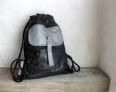Backpack Drawstring Black and Grey Cinch Sack