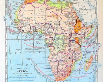 Political and Economic Map of Africa - 1920 Map - Vintage World Geography Book Map