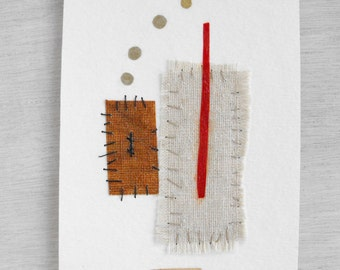 Mixed Media Art Collage // Hand stitched Fabric and Paper Collage // Psychology Series // Eco Friendly Experimental Original Art by Luluanne