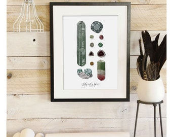 Minerals & Gems - Scientific Illustration. Beautifully textured cotton canvas art print. Order as an 8x10 11x14 or 16x20 size. Vol.1