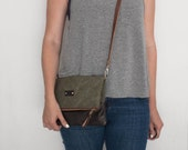 Army Canvas and Leather Foldover Crossbody Bag / Foldover Clutch / Leather Foldover Bag / Leather Foldover Clutch / Crossbody Bag