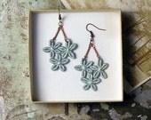 lace earrings // LOUISE // pale mint / floral earrings / chandelier earrings / romantic / dangle earrings / wedding jewelry