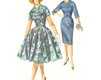 1960s Dress Bodice Detail Slim or Circle Skirt Kimono Sleeves - Vintage Sewing Pattern Simplicity - Size 18 / Bust 38 Uncut FF