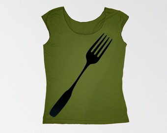 SALE Giant Fork Womens Tshirt, back to school shirt gift for women, gift for her, foodie gift for teen, cotton t shirt, women clothes, chef