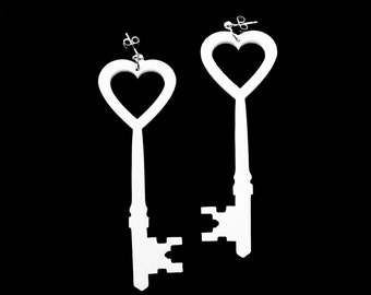 Key to My Heart Earrings - Laser Cut Acrylic (C.A.B. Fayre Original Design)
