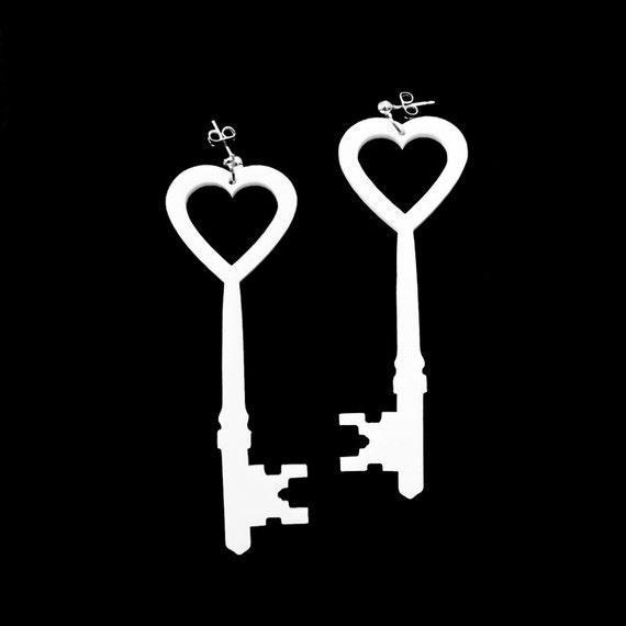 Key to My Heart Earrings - Laser Cut Acrylic (C.A.B. Fayre Original Design)