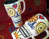 Sugar Skull Ceramic Travel Mug with Sacred Heart for Day of the Dead and Every Day Skully Love