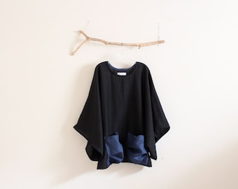 oversize heavy linen wide kimono sleeve top crunched pockets made to order