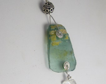 Genuine Ancient Roman Glass  Pendant with Sterling Silver and Quartz Crystal Necklace