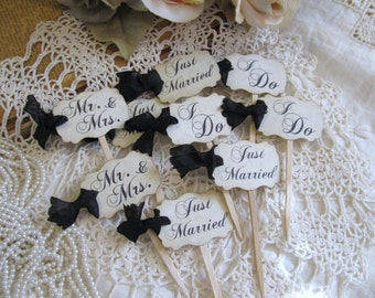 Wedding MINI Cupcake Toppers Party Picks - Bridal Mix - I Do Just Married Mr. & Mrs. - Set of 24 - Choose Ribbons - Rustic Vintage Shabby