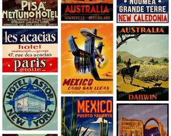 TOURISTA II - Digital Printable Collage Sheet - Vintage Travel Labels, Suitcase Luggage Labels from France, Australia, Mexico & Hong Kong