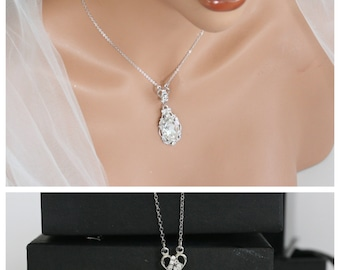Pendant Bridal Necklace Swarovski Crystal Simple Wedding Necklace Vintage necklace Rhinestone Wedding jewelry RYAN PENDANT