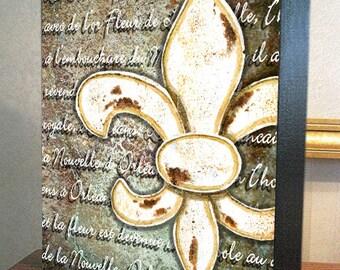 """Fleur de Lis Wall Decor """"Fleur de Lis Orléans"""" 8x10x1.5"""" and 11x14x1.5"""" Gallery Wrap Canvas Print"""