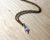 Radish pendant necklace with handpainted white and pink vegetable illustration charm adjustable as bracelet