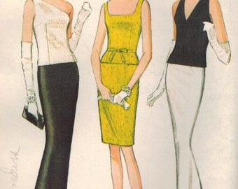 1960s McCall's 8500 Vintage Sewing Pattern Misses Evening Blouse and Skirt Size 12 Bust 32