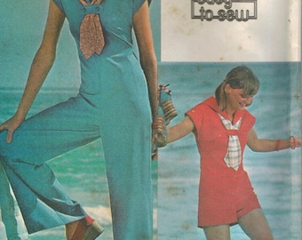 1970s McCall's 4980 UNCUT Vintage Sewing Pattern Misses Sailor Jumpsuit and Scarf Size 12 Bust 34