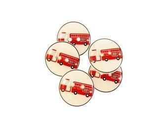 "5 Fire Truck Buttons.  Handmade Sewing Buttons.  3/4"" or 20 mm."