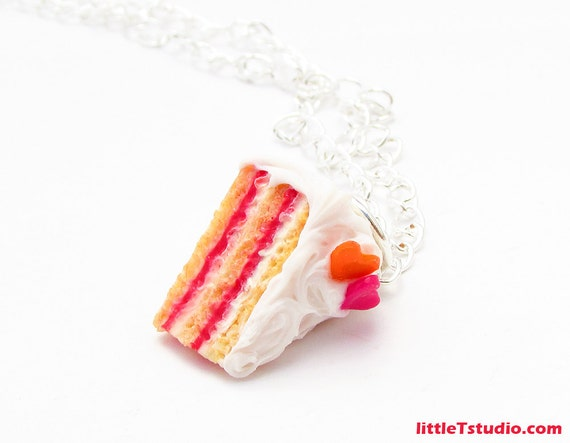 Raspberry Cream Layered Cake Necklace with Vanilla Bean Frosting ...