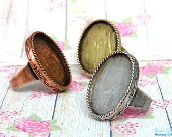 3 Oval Ring Blank bezel base settings for 18x25mm cab , Adjustable wide band , oxidized rustic , Sterling Silver , Brass and Copper plated