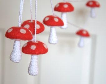 Alice in Wonderland mushroom garland nursery decor felted toadstools red white dots baby shower gift woodland Birthday party decor