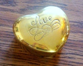 Vintage Brass Heart-Shaped Jewelry or Trinket Box - Love
