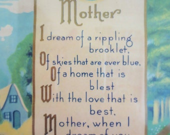 Vintage Picture, Mother Picture, Mother Love, Mother Poem, Poetry Picture, Cottage Chic, Framed Picture Vintage Decor, Mothers Day, Mom Love