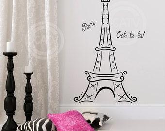 Eiffel Tower Ooh La La Paris vinyl lettering wall saying decal sticker decor kids room nursery