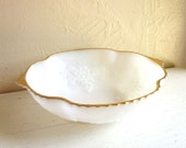 Milk Glass Bowl Grapevine Dish Medium White Grapes Motif with Gold Trim