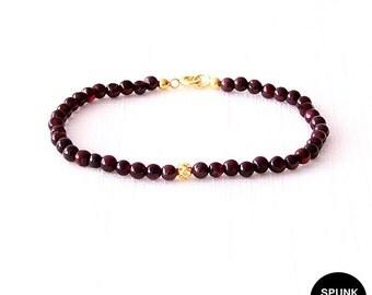 Gold Gemstone Bracelet - Garnet - Dark Maroon, Gold - The Stoned: Filigree 4mm Round