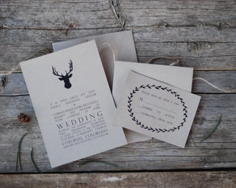 SPECIAL! - Antler Wedding Invitation Suite - Deer Buck Stag - Rustic Woodland Outdoor - Camping - Place Card * Thank You * Menu * Program