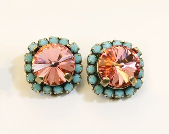 Coral Aqua Clip earrings Coral Turquoise Clip On Earrings Peach Clip large Halo Swarovski rhinestones Crystals Brass finish, Rose Peach,BE97