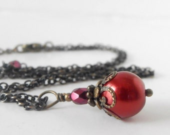 Handmade Wedding Jewelry, Cherry Red Pearl Bridesmaid Necklaces, Beaded Vintage Style Pendant in Antiqued Bronze, Candy Apple Red Sets