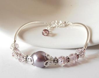 Dusky Purple Bridesmaid Jewelry, Pale Lilac Crystal and Pearl Beaded Bracelet, Swarovski Elements Mauve Wedding Sets, Maid of Honor Gift