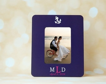 Nautical Wedding Monogram Personalized Picture Frame + Bride + Groom Monogram + Navy