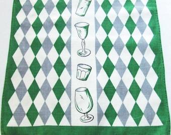 Linen Bar Towel Midcentury Glassware Diamonds Green and Gray