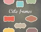 Cute polka dot frames labels, tags set - digital clipart