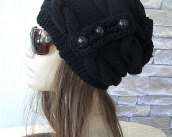 Slouchy Hat Womens Hat  Knit hat -  Winter Hat Cable knit hat  Button gift for her  Black Hat Winter fashion Accessories Fashion Accessories