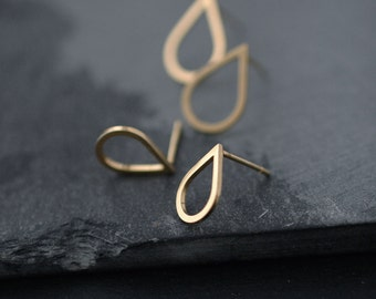 Small droplette Vermeil or Silver studs earrings