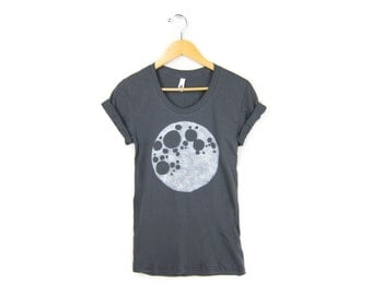 Full Moon Tee - Girly Fit Scoop Neck Tshirt with Rolled Cuffs in Asphalt Grey - Women's Size S-4XL